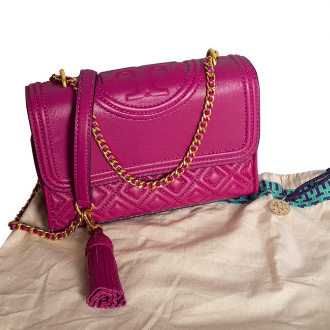 Tory Burch Pink Leather Fleming Shoulder Bag