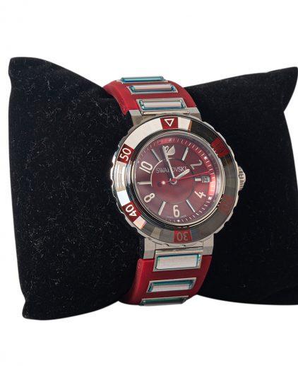 Swarovski Red Stainless Steel Octea Sport Womens Wristwatch