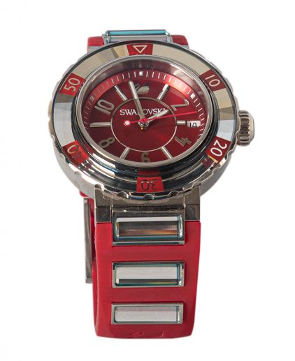 Swarovski Red Stainless Steel Octea Sport Womens Wristwatch