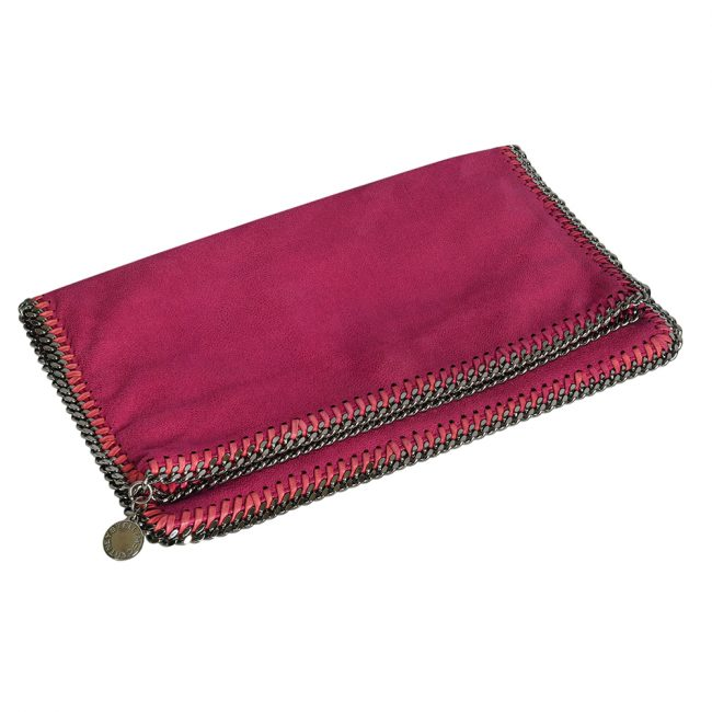 Stella McCartney Pink Faux Leather Falabella Fold Over Clutch
