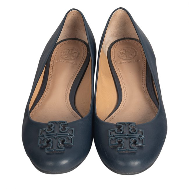Tory Burch Blue Leather Ballet Flats Size 37