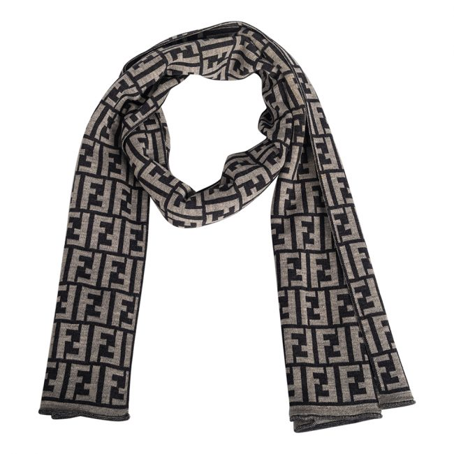Fendi Black Grey FF Wool Jacquard Scarf