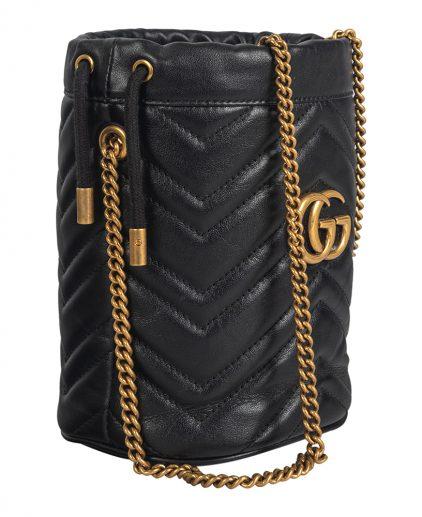 Gucci Black Matelasse Leather GG Marmont Torchon Bucket Bag