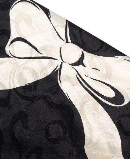 Saint Laurent Black White Camellia Scarf