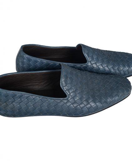Bottega Veneta Blue Intrecciato Leather Smoking Slipper