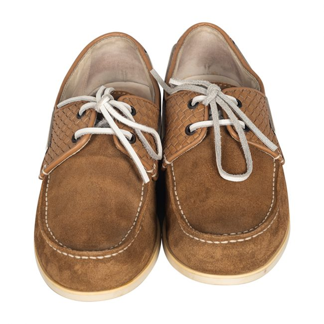 Bottega Veneta Brown Intrecciato Leather Suede Low Top Sneakers Size 40