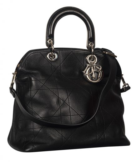 Dior Black Cannage Quilted Lambskin Leather Large Granville Tote