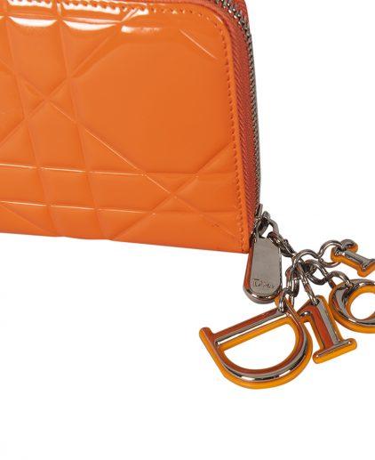 Dior Orange Patent Leather Lady Dior Zip Around Wallet
