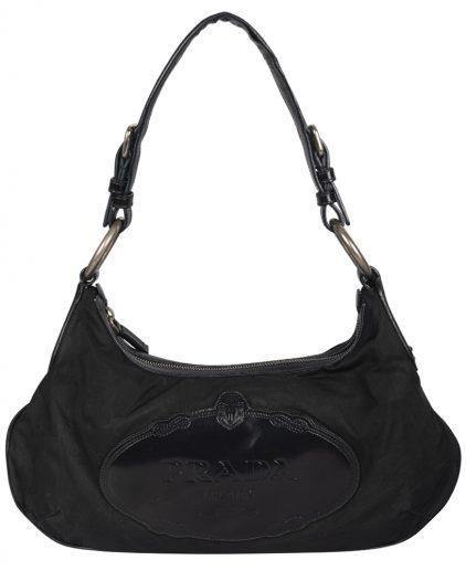 Prada Black Nylon Leather Tessuto Canapa Shoulder Bag