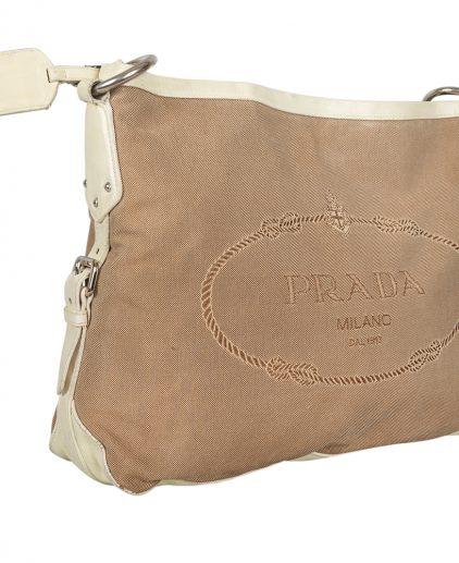 Prada White Beige Logo Jacquard Fabric Canvas Shoulder Bag