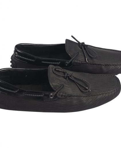 Tod's Black Leather Bow Slip On Loafers Size 7