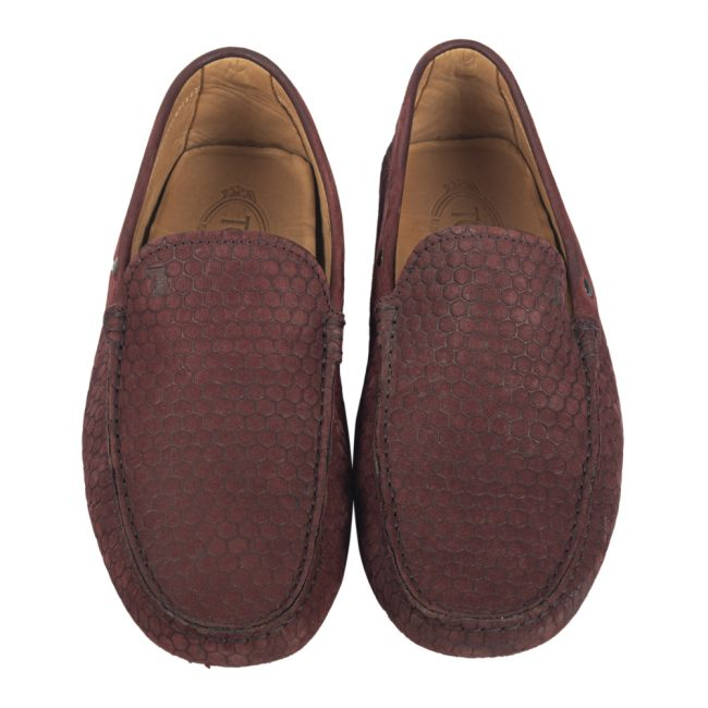 Tod's Maroon Suede Slip On Loafers Size 6.5