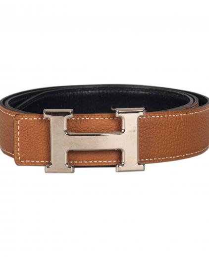 Hermes Brown Black Reversible H Belt 38 Inch