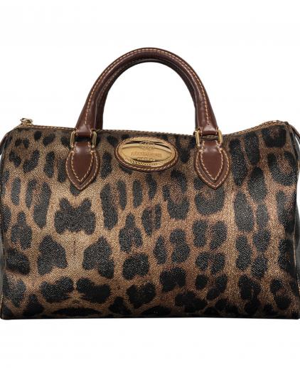 Roberto Cavalli Brown Gold Leopard Printed Leather Boston Bag
