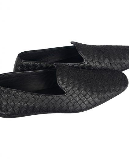 Bottega Veneta Black Intrecciato Leather Smoking Slipper
