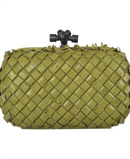 Bottega Veneta Limited Edition Fringe Knot Green Leather Clutch
