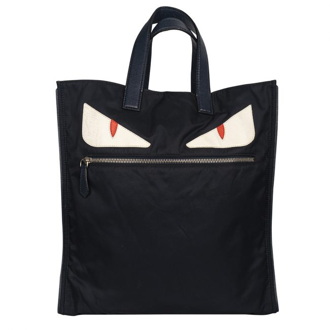 Fendi Black Nylon Monster Eyes Tote Bag