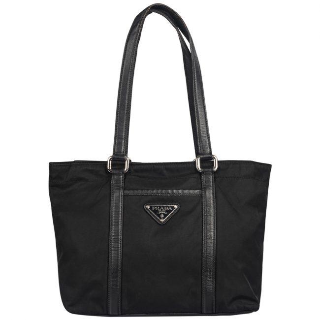 Prada Small Black Fabric Leather Shoulder Bag