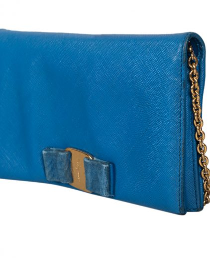 Salvatore Ferragamo Blue Leather Miss Vara Wallet On Chain