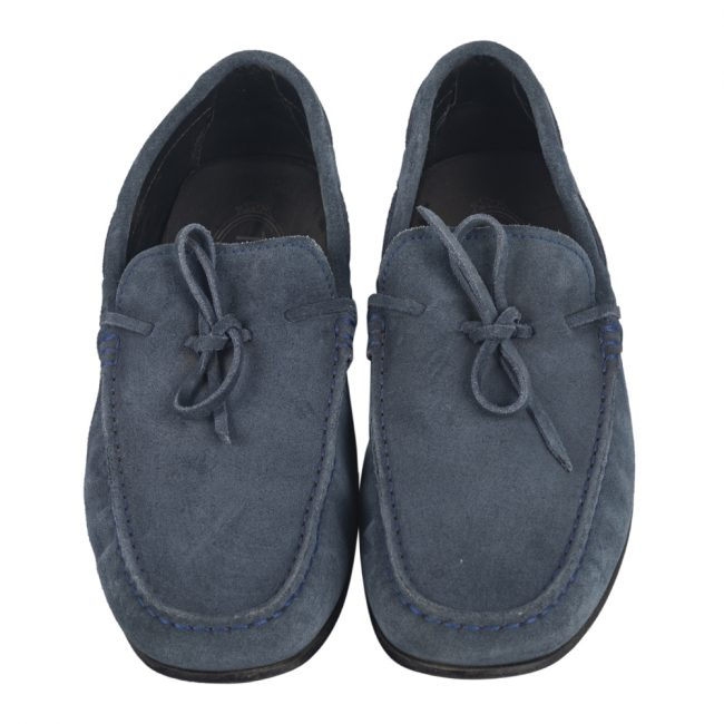 Tod's Blue Suede Bow Slip On Loafers Size 7.5