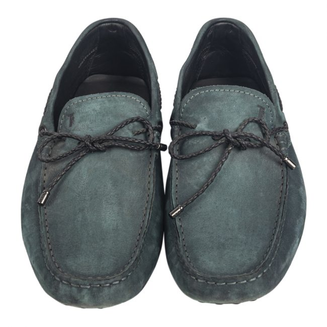Tod's Olive Green Suede Bow Slip On Loafers Size 7