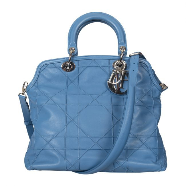 Dior Blue Cannage Quilted Lambskin Leather Granville Tote