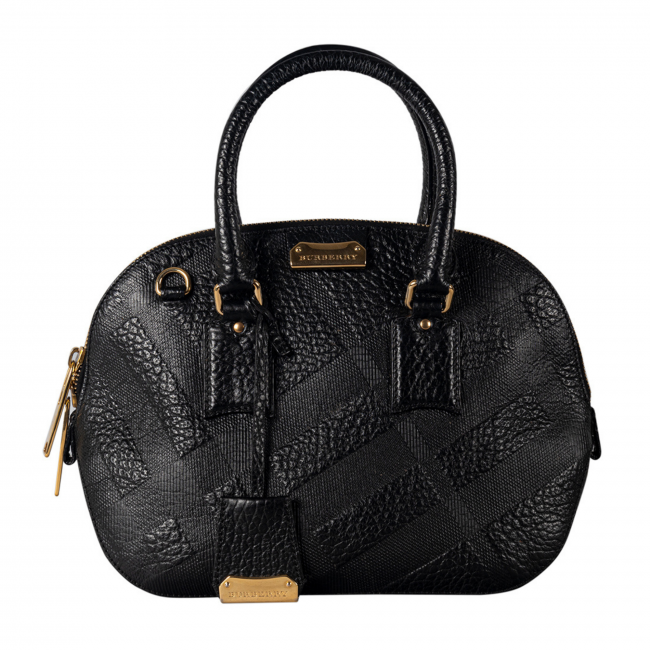 Burberry Black Embossed Leather Orchard Bowler Bag