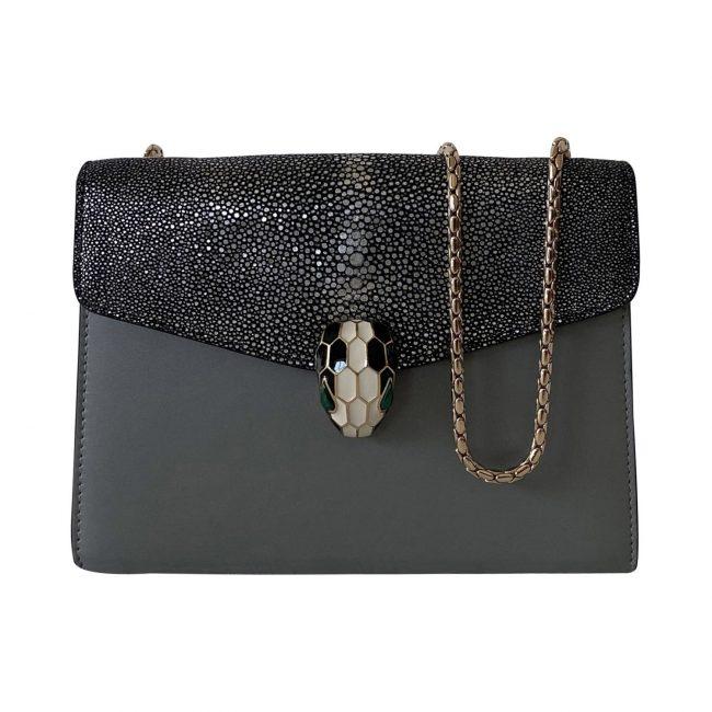 Bvlgari Grey Stingray Leather Serpenti Forever Shoulder Bag