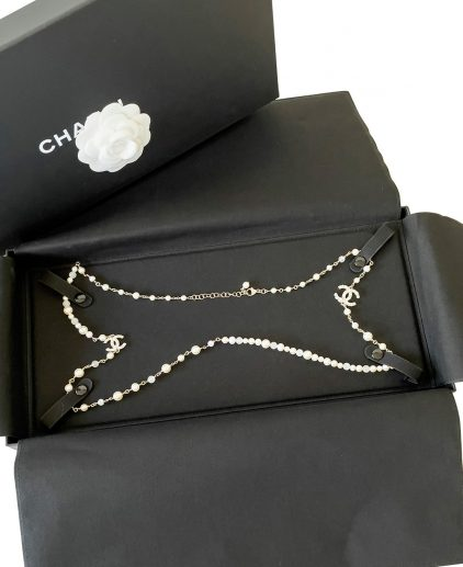 Chanel Faux Pearls CC Long Necklace