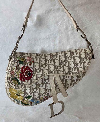 Dior Beige Brown Monogram Canvas Vintage Oblique Saddle Bag