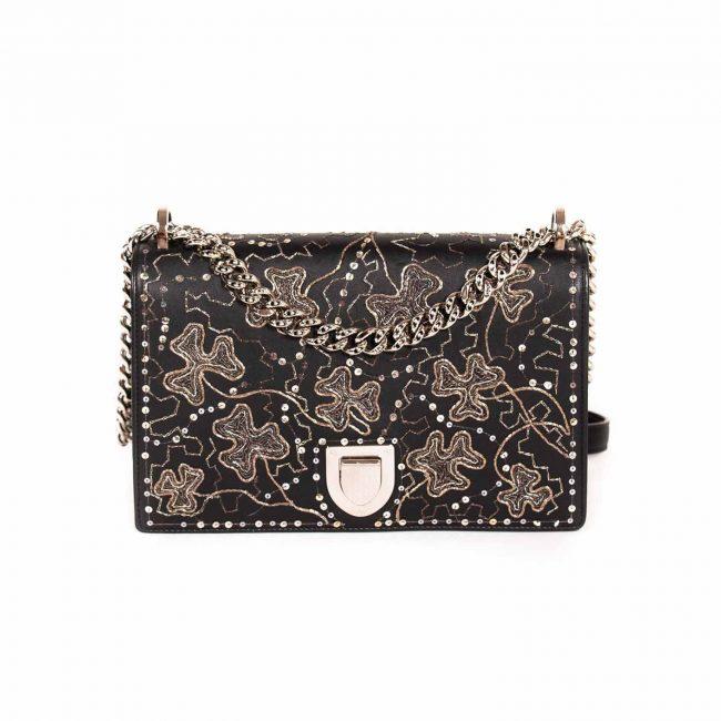 Dior Black Leather Sequin Embroidery Embellished Medium Diorama Bag