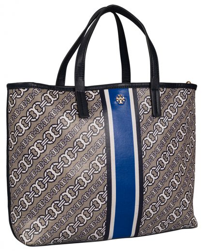 Tory Burch Blue Gemini Link Coated Canvas Leather Tote