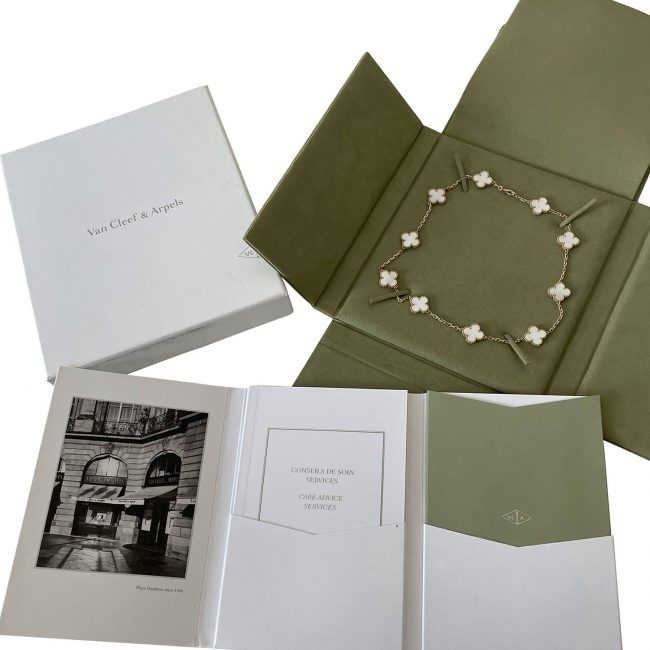 Van Cleef & Arpels Vintage Alhambra 18K Yellow Gold Pearl Stone Necklace