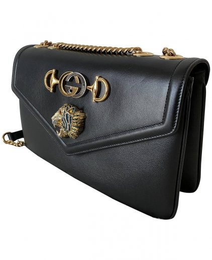 Gucci Black Leather Medium Rajah Flap Shoulder Bag